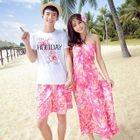 Couple Matching Floral Print Halter Maxi Dress / Set: Short Sleeve T-Shirt + Shorts 1596