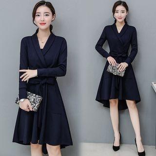 Long-Sleeve Tie-Waist Dress 1057312669
