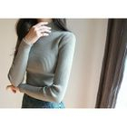 Mock-Neck Ribbed Knit Top 1596