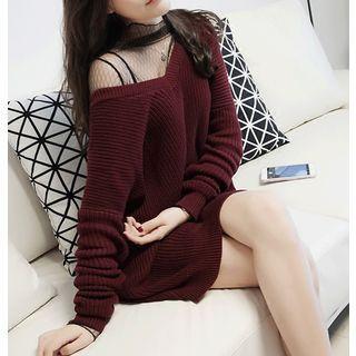 Image of Lace-Up V-Neck Chunky Sweater