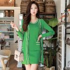 Set: Contrast-Trim Long Cardigan + Sleeveless Knit Dress 1596