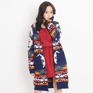 Open-Front Print Long Cardigan 1057635960