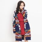 Open-Front Print Long Cardigan 1596