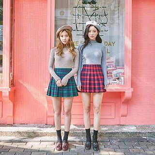 Pleated Plaid Mini Skirt 1053671391