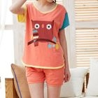 Pajama Set: Owl Print Color Block Short Sleeve T-Shirt + Shorts 1596