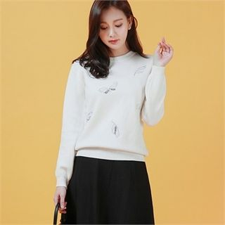 Butterfly Embroidered Beaded Sweater 1055819205