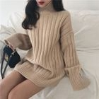 Ribbed Turtleneck Long Sweater 1596