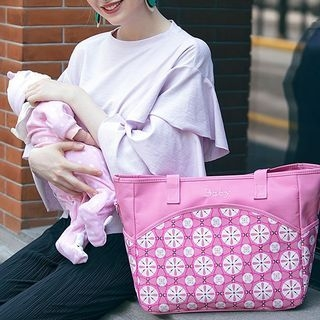 Patterned Zip Pockets Tote 1061538147