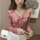 Long-Sleeve Ribbon Detail Knit Top 1596