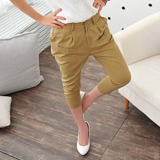 Picture of 59 Seconds Slim-Fit Cropped Pants Khaki - One Size 1022500308 (Womens Slim-Fit Pants, Womens Cropped Pants, 59 Seconds Pants, Hong Kong Pants)