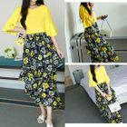 Set: Plain Bell-Sleeve Top + Floral Print Midi Skirt 1596