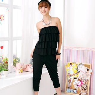Buy 59 Seconds Strapless Ruffle Jumpsuit Black – One Size 1022800627