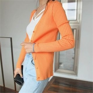 V-Neck Ribbed Cardigan 1065652047