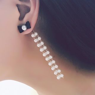 Image of Faux Pearl Bow Waterfall Earring