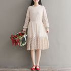 Long-Sleeve Tie-Waist Lace Dress 1596