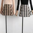 Buttoned Plaid Mini Skirt 1596