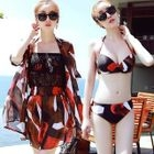 Set: Printed Bikini + Lace Panel Strapless Playsuit + Beach Cover-Up 1596