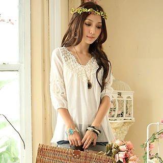 Buy Tokyo Fashion Eyelet Lace Tunic 1023000508
