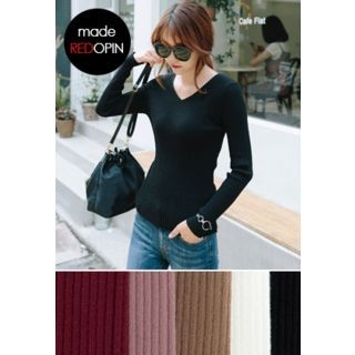 V-Neck Ribbed Knit Top 1062628619