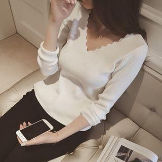 Ribbed V-Neck Sweater 1063872805