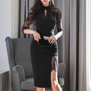 Image of 3/4-Sleeve Lace Panel Midi Sheath Dress