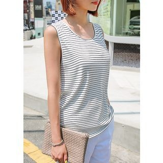 U-Neck Stripe Ribbed Tank Top 1060717130
