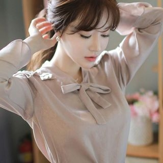Image For Tie-Neck Ruffle-Cuff Blouse
