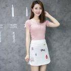 Embroidered Plaid Mini Skirt 1596