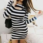Long-Sleeve Cutout Striped Sheath Dress 1596