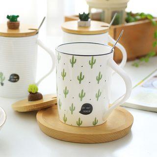 Cactus Print Ceramic Mug with Lid and Spoon 1061395364