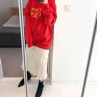 Band-Waist Textured Long Skirt 1064359985