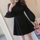 Long-Sleeve Sheer Panel A-Line Mini Dress 1596