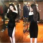 Velvet Off-Shoulder Long-Sleeve Midi Bodycon Dress 1596