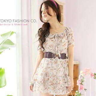 Buy Tokyo Fashion Tie-Neck Short-Sleeve Chiffon Dress 1022882976