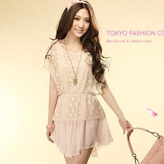 Buy Tokyo Fashion Flutter-Sleeve Lace Overlay Chiffon Dress 1022883028