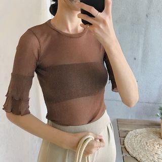 Elbow-Sleeve Knit T-Shirt 1061267347