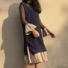 Set: Bell-Sleeve Midi Dress + Corduroy Pinafore Dress 1596