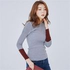 Contrast-Trim Ribbed Knit Top 1596