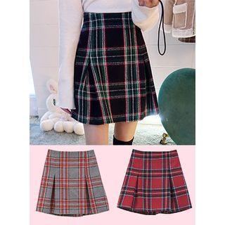 Pleated Plaid Mini Skirt 1056719840