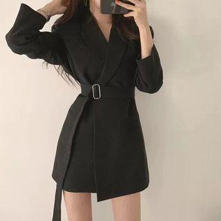 Image of Belted Asymmetric Blazer Dress