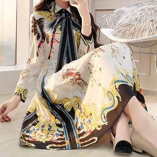 Rosewind Bow Accent Printed Long-Sleeve Midi Dress