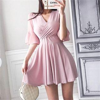 Babi n Pumkin Wrap-Front Mini Flare Dress