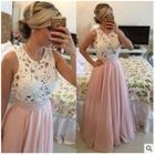 Lace Panel Sleeveless Evening Gown 1596