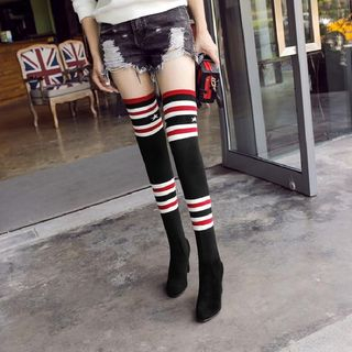 Striped Over-the-Knee High Heel Boots