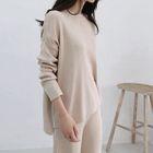 Round-Neck Drop-Shoulder Knit Top 1596