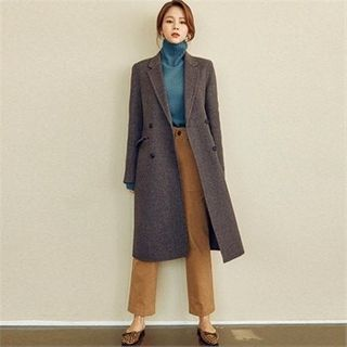 Image of Double-Breasted Wool Blend Coat