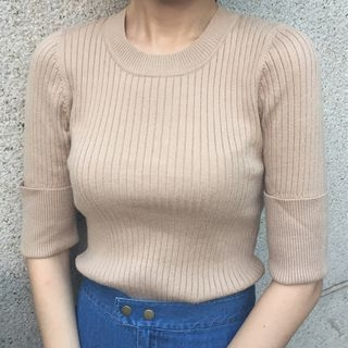 Ribbed Elbow-Sleeve Knit Sweater 1062426269