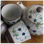 Set: Floral Ceramic Teapot + 4 Cups 1596