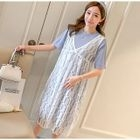 Maternity Set: Short Sleeve T-Shirt Dress + Lace Pinafore Dress 1596