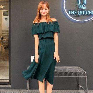 Short-Sleeve Off-Shoulder Layered Dress 1050807343